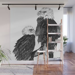 Bald Eages Ink Drawing Wall Mural