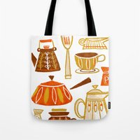 mid century Tote Bags featuring Mid Century Modern Kitchen by Van Huynh