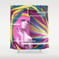 princess bubblegum Shower Curtains featuring Princess Bubblegum by Kimball Gray