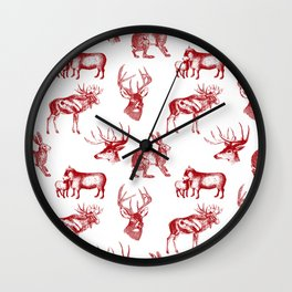 Woodland Critters in Red and White Wall Clock