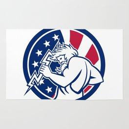 Zeus With Thunderbolt USA Flag Icon Rug