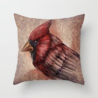 cardinal Throw Pillows featuring Cardinal by Werk of Art