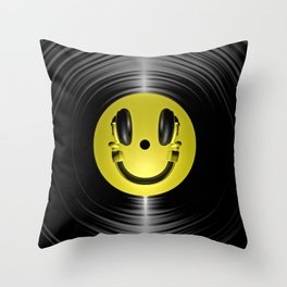 Vinyl headphone smiley Throw Pillow