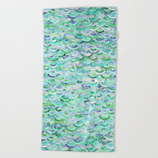 Marble Mosaic in Mint Quartz and Jade Beach Towel