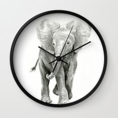Baby Elephant Watercolor Wall Clock