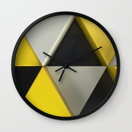 Pattern of black, white and yellow triangle prisms Wall Clock