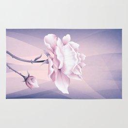 White Pink Rose In Lovely Light Rug