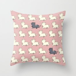 Proud cat pattern Pink Throw Pillow