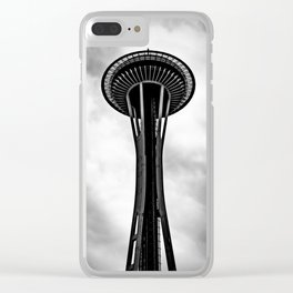 Space Needle Black and white Clear iPhone Case