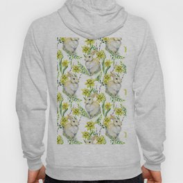 Spring yellow green watercolor daffodil rabbit pattern Hoody