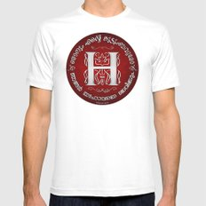 Joshua 24:15 - (Silver on Red) Monogram H Mens Fitted Tee MEDIUM White