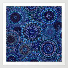 Dot Art Circles Blues Art Print
