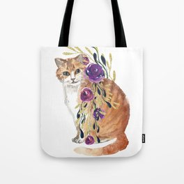 cat with flower boa Tote Bag