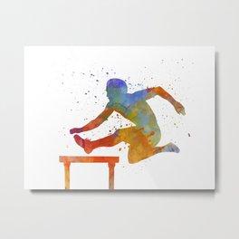 Man Athlete Jumping Over A Hurdles 01 Metal Print
