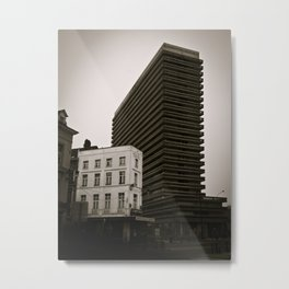 Surrealist City in Black and White Metal Print