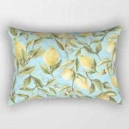 mediterranean summer lemon branches on turquoise Rectangular Pillow