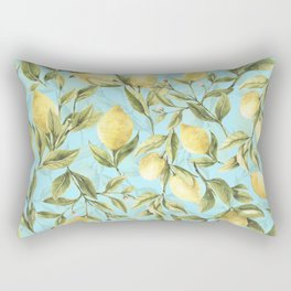 mediterranean summer lemon branches on turquoise Rectangular Pillow