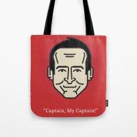 "robin williams Tote Bags featuring ROBIN WILLIAMS - ""Captain, My Captain!"" by Gerardo Lisanti"