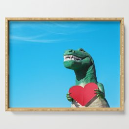 Tiny Arms, Big Heart: Tyrannosaurus Rex with Red Heart Serving Tray