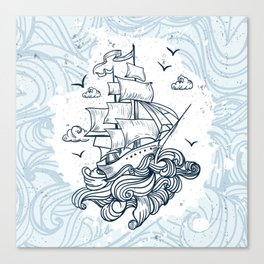 Hand drawn boat with waves background Canvas Print