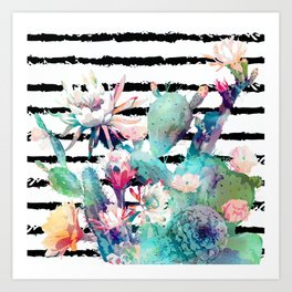Pretty watercolor cactus floral and stripes design Art Print