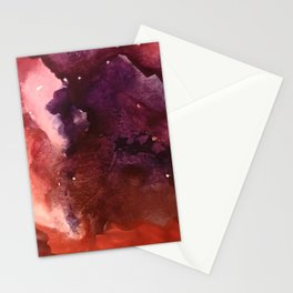 Starlight [2]: a pretty abstract watercolor piece in reds and purples by Alyssa Hamilton Art Stationery Cards