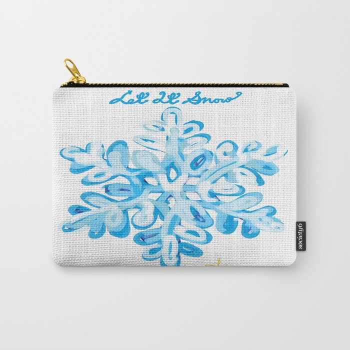 Let It Snow Snowflake Painting Carry-All Pouch