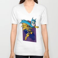 batgirl V-neck T-shirts featuring Batgirl! by neicosta