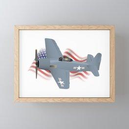 Patriotic WW2 F8F Bearcat Airplane Framed Mini Art Print
