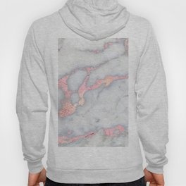 Rosegold Pink on Gray Marble Metallic Foil Style Hoody