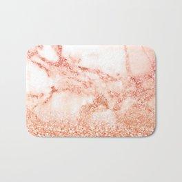 Sparkly Peach Copper Rose Gold Ombre Bohemian Marble Bath Mat