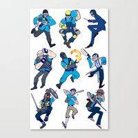 team fortress Canvas Prints featuring Team Fortress 2 - White bg by hijinxx