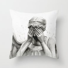 Weeping Angel Watercolor Painting Throw Pillow