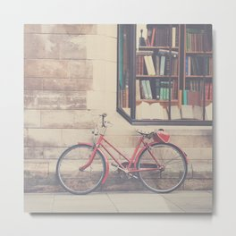 A vintage red bicycle and the bookstore photograph Metal Print