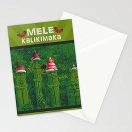 Mele Kalikimaka Tiki Idol Totems for a Happy Christmas Holiday Stationery Cards