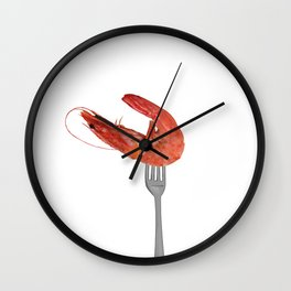 fork with shrimps white Wall Clock