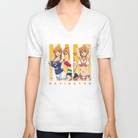 one piece V-neck T-shirts featuring Sexy Nami - One Piece by feimyconcepts05