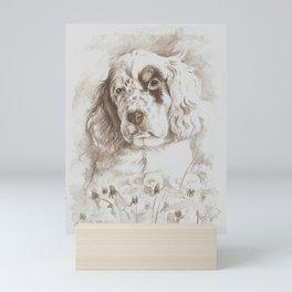 English Setter puppy Monochrome sgraffito Mini Art Print