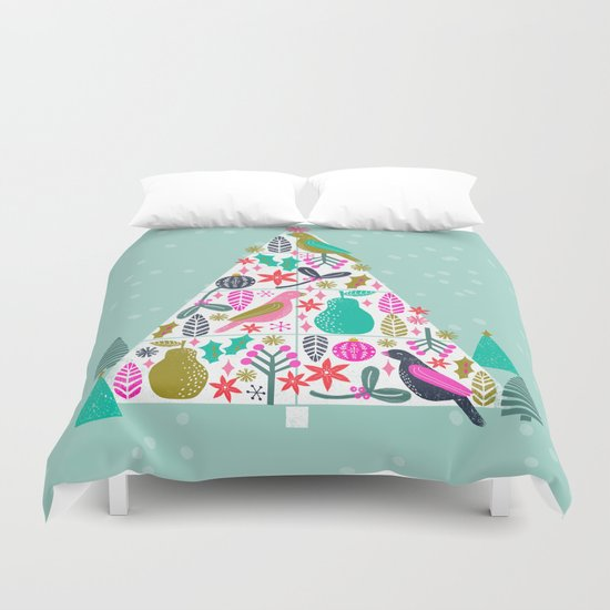 Christmas Tree by Andrea Lauren  Duvet Cover