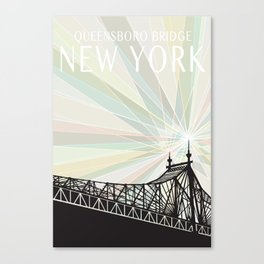 Queensboro Bridge NYC - White Type, Rainbow Canvas Print