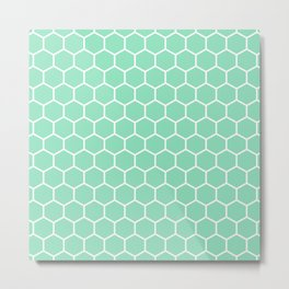 Honeycomb (White & Mint Pattern) Metal Print
