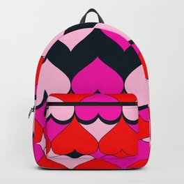 Multi Hearts Red Pink Navy Backpack
