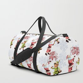 Merry Christmas Embroidery Santa Elf Duffle Bag