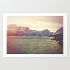 Retro Mountain Lake Art Print