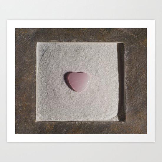Rose Quartz heart in a zen garden Art Print