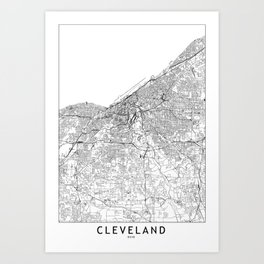 Cleveland White Map Art Print