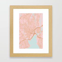 New Haven map, Connecticut Framed Art Print