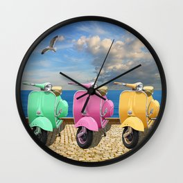 Scooter in bright colors Wall Clock