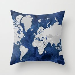 Dark blue watercolor and grey world map Throw Pillow