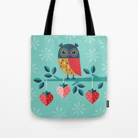 jazzberry Tote Bags featuring OWL ALWAYS LOVE YOU by Daisy Beatrice